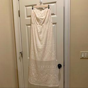 Off White Cream Lace Maxi Strapless Dress 1x EUC